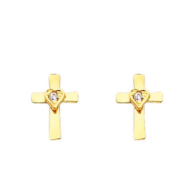 14K Gold Cross Heart CZ Stud Earrings