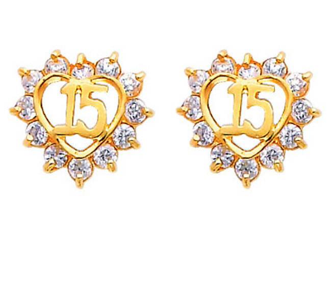 14K Gold Quinceanera Heart CZ Stud Earrings