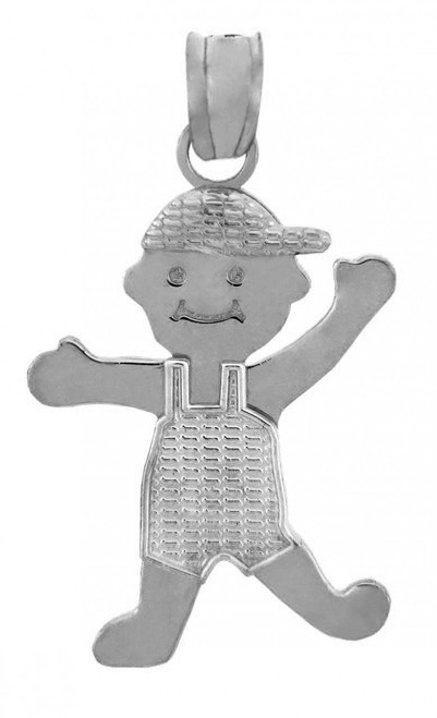 White Gold Baby Charm Pendant - It's A Boy!