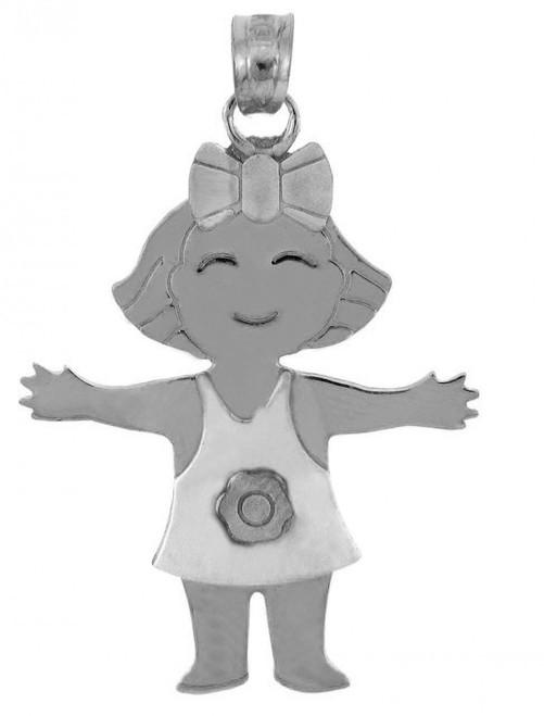 White Gold Baby Charm Pendant - Flower Girl