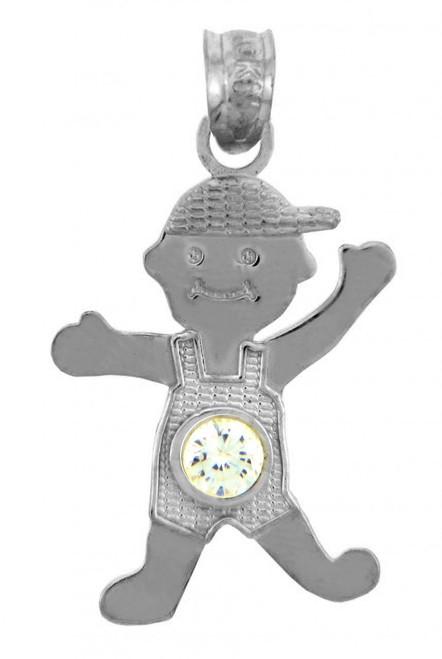 White Gold Baby Charm Pendant - CZ Crystal Boy  Birthstone Charm