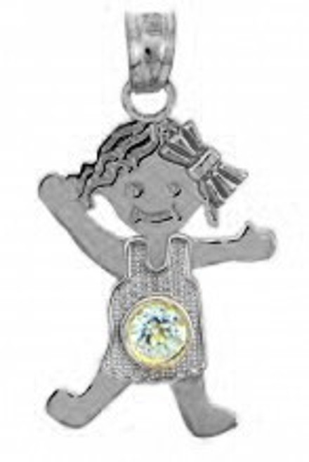 White Gold Baby Charm Pendant - CZ Crystal Girl  Birthstone Charm