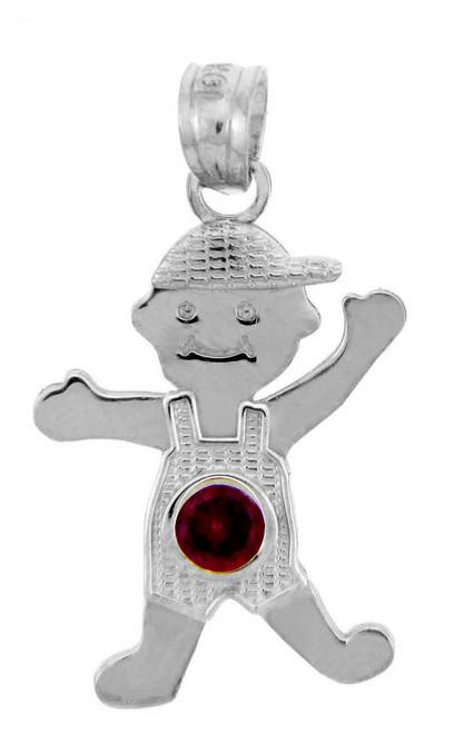 White Gold Baby Charms and Pendants - CZ Ruby Garnet Boy  Birthstone Charm