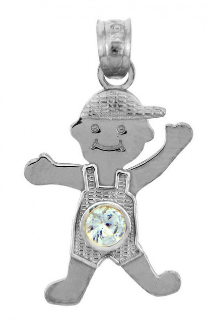 White Gold Baby Charms and Pendants - CZ Light Blue Gem Boy  Birthstone Charm