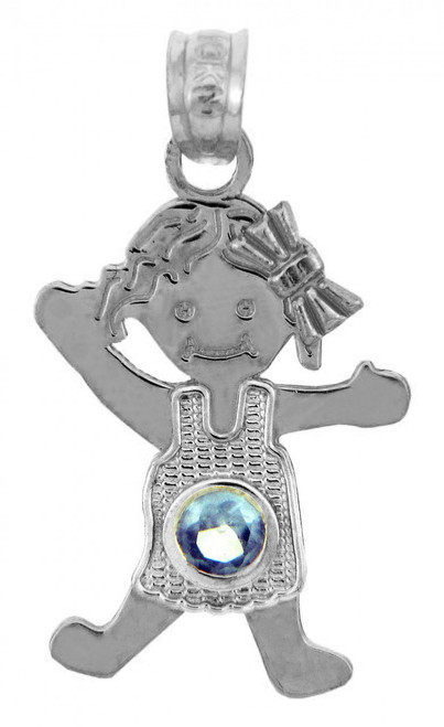 White Gold Baby Charms and Pendants - CZ Light Blue Gem Girl Birthstone Charm
