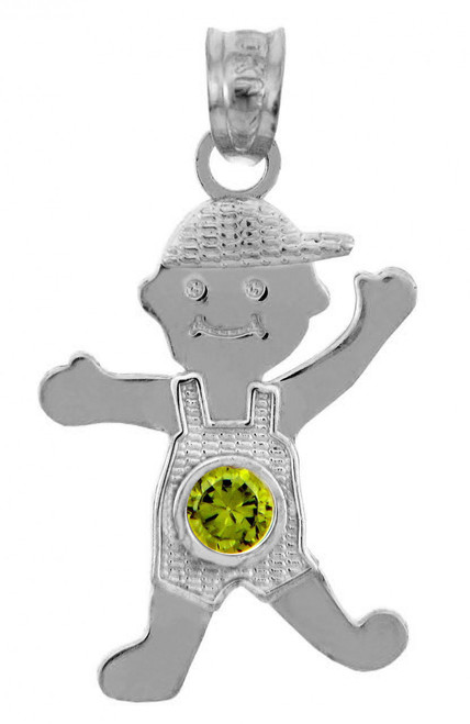 White Gold Baby Charms and Pendants - CZ Peridot Boy  Birthstone Charm