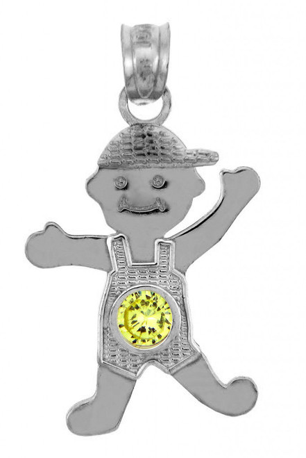 White Gold Baby Charms and Pendants - CZ Yellow Topaz Boy  Birthstone Charm