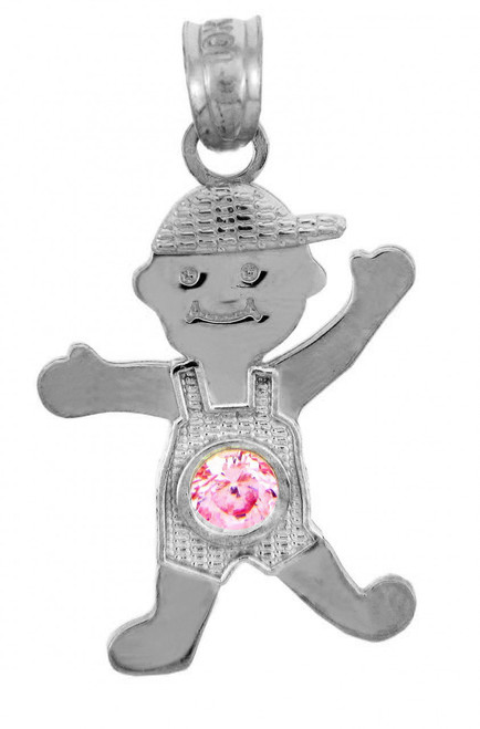 White Gold Baby Charms and Pendants - June October Boy  Birthstone Charm