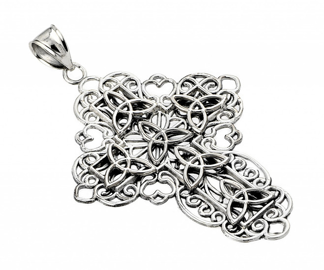 Oxidized Sterling Silver Trinity Cross Pendant