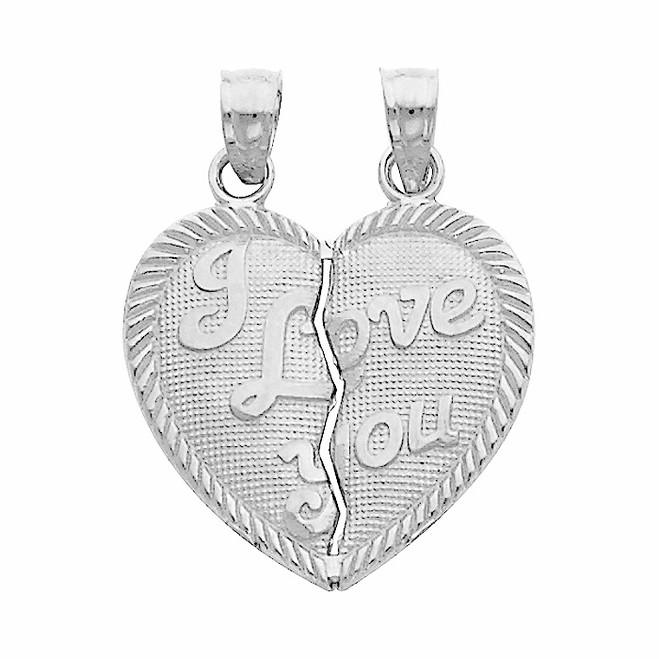White Gold Hearts Apart - I Love You Pendant - Large
