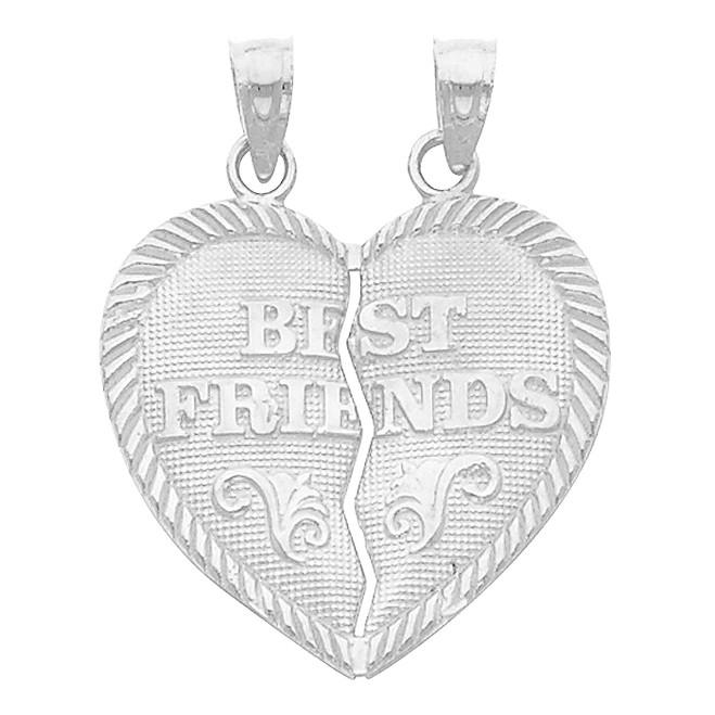 White Gold  Hearts Apart - Best Friends Pendant - Large