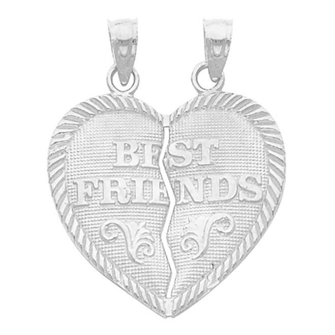 White Gold Hearts Apart - Best Friends - Small