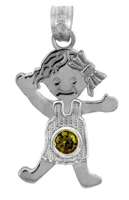 Silver Baby Charms and Pendants - CZ Light Green Gem Girl Birthstone Charm