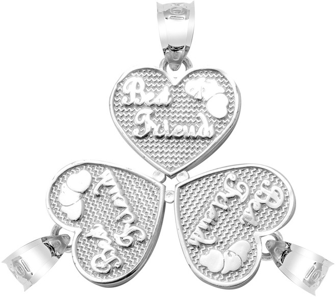 """White Gold """"BEST FRIENDS"""" Three Breakable Hearts Pendant"""
