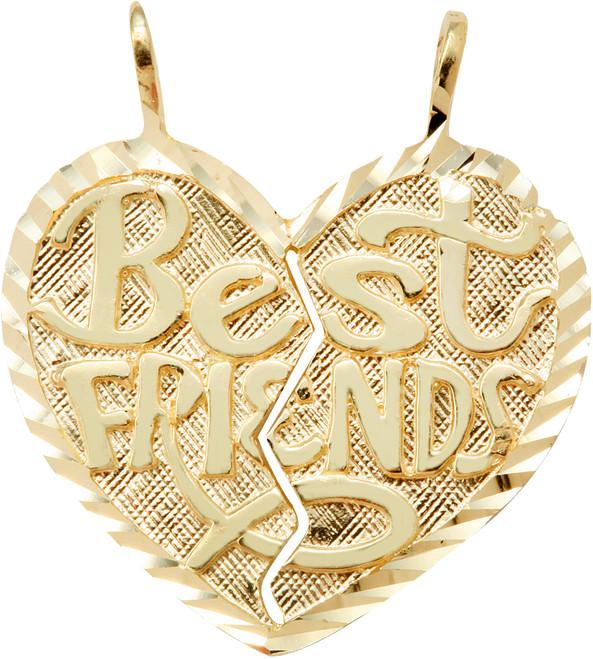 "Yellow Gold  ""BEST FRIENDS"" Breakable Heart Double Pendant"