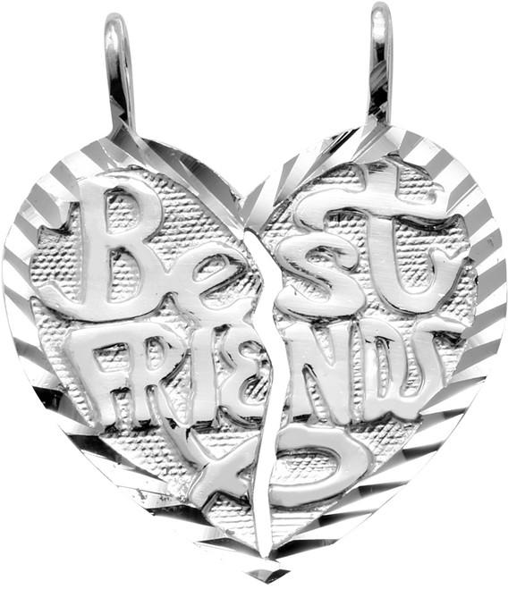 "White Gold ""BEST FRIENDS"" Breakable  Hearts Pendant"