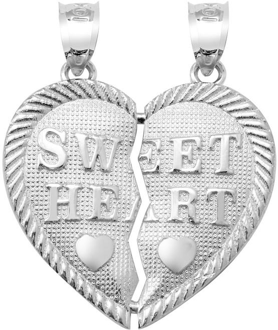 """Silver   """"SWEET HEART""""  Breakable  Hearts Pendant"""