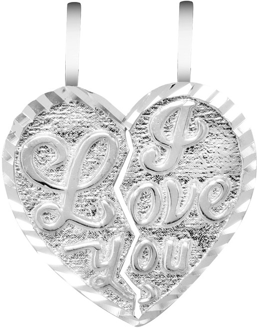 """White Gold """"I LOVE YOU""""  Breakable Heart Pendant-Small"""