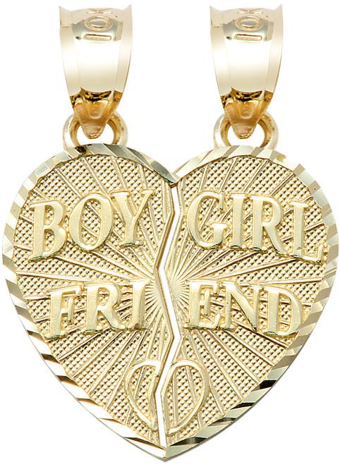 """Yellow Gold """"BOY/GIRL FRIEND"""" Breakable Heart Pendant"""
