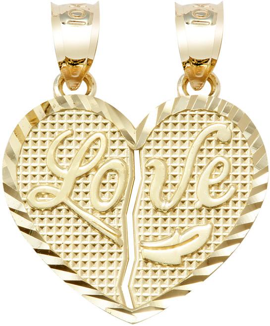 "Yellow Gold ""LOVE ""  Breakable Heart Penant-Medium"