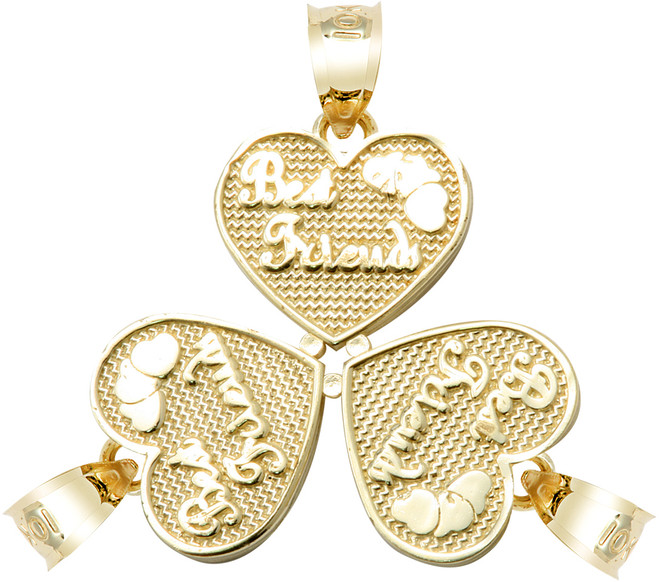 "Yellow Gold ""BEST FRIENDS"" Three Breakable Hearts Pendant"