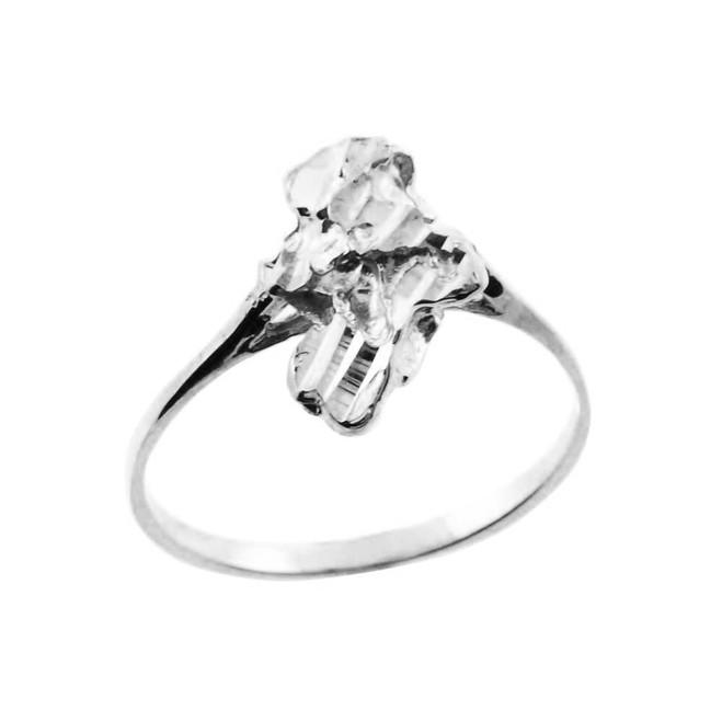 White Gold Chiseled Nugget Ladies Ring