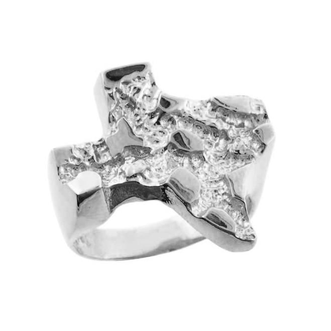 Silver Medium Texas Nugget Ring