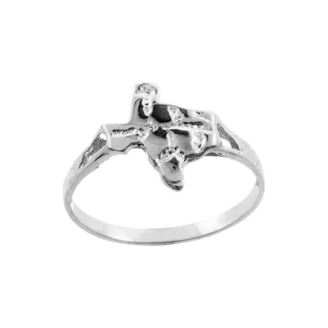 White  Gold Small Texas Nugget Ring