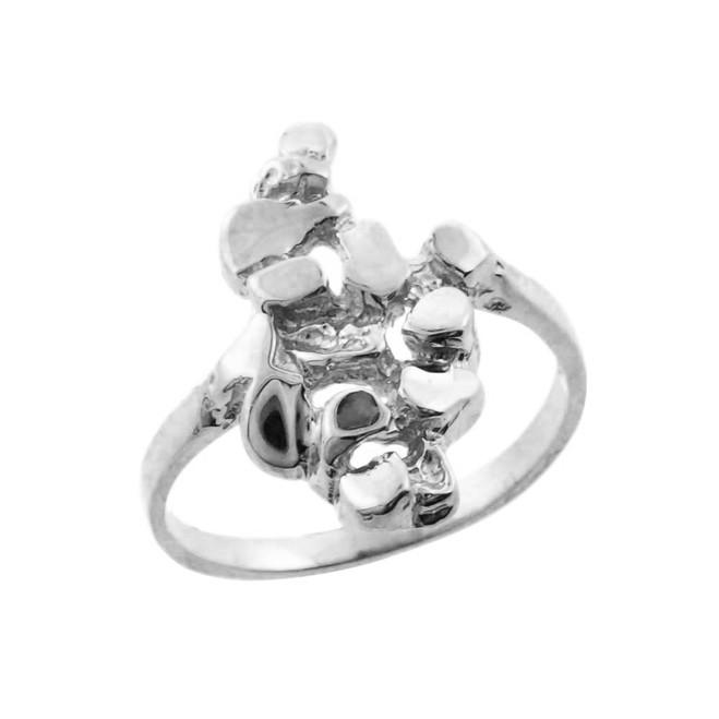 White Gold  Nugget Ladies Ring