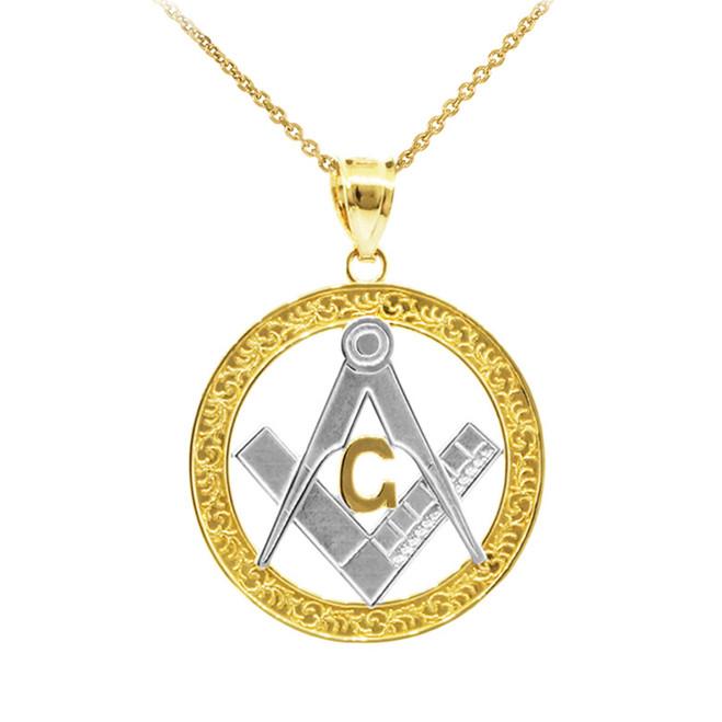 "Two-Tone Yellow Gold Freemason Round Masonic Bail Pendant 1.2"""