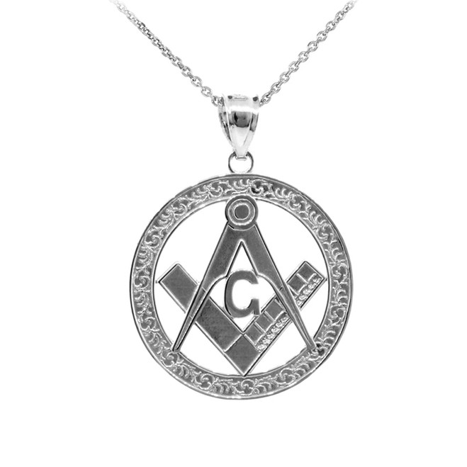 925 Sterling Silver Freemason Round Masonic Medallion Pendant Necklace