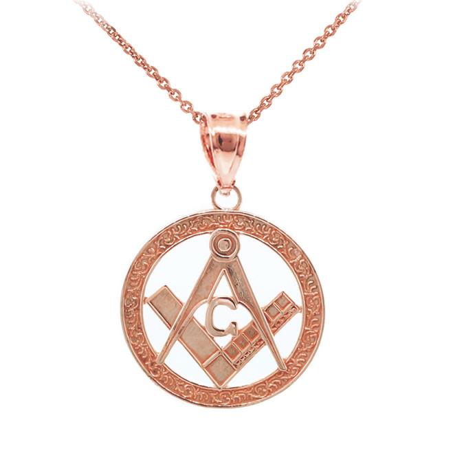 "Rose Gold Freemason Small Round Masonic Bail Pendant 1"""