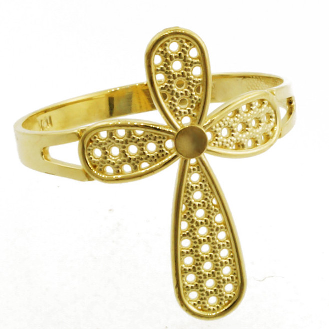 Yellow Gold Orbicular Cross Ring