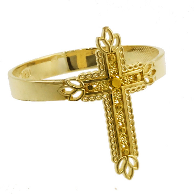 Yellow Gold Thorned Cross Ring