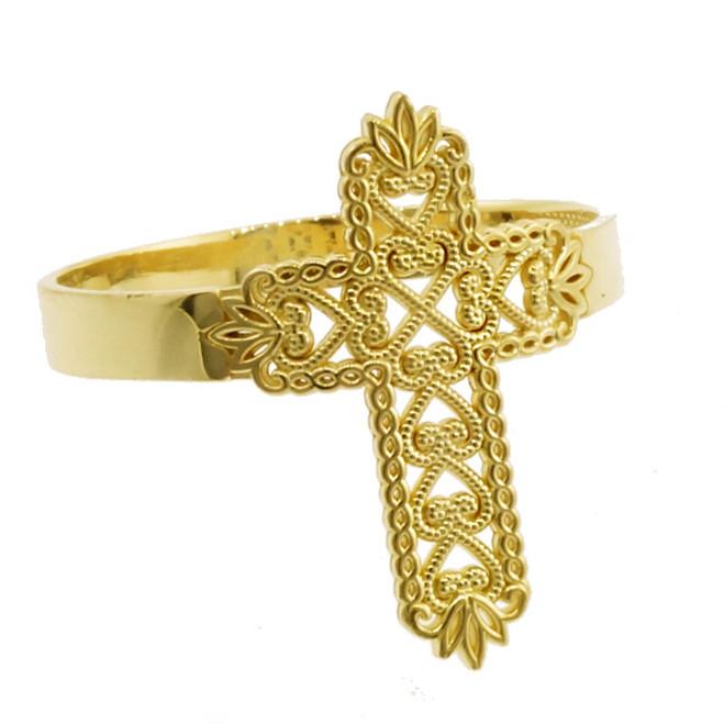 Yellow Gold Thorned Filigree Cross Ring