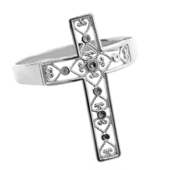 White Gold Filigree Cross Ring