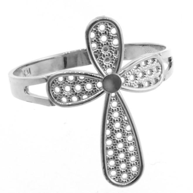 White Gold Orbicular Cross Ring