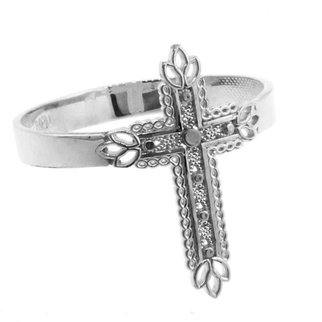 White Gold Thorned Cross Ring
