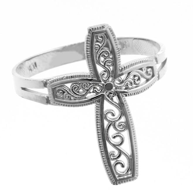 White Gold Filigree Design  Cross Ring