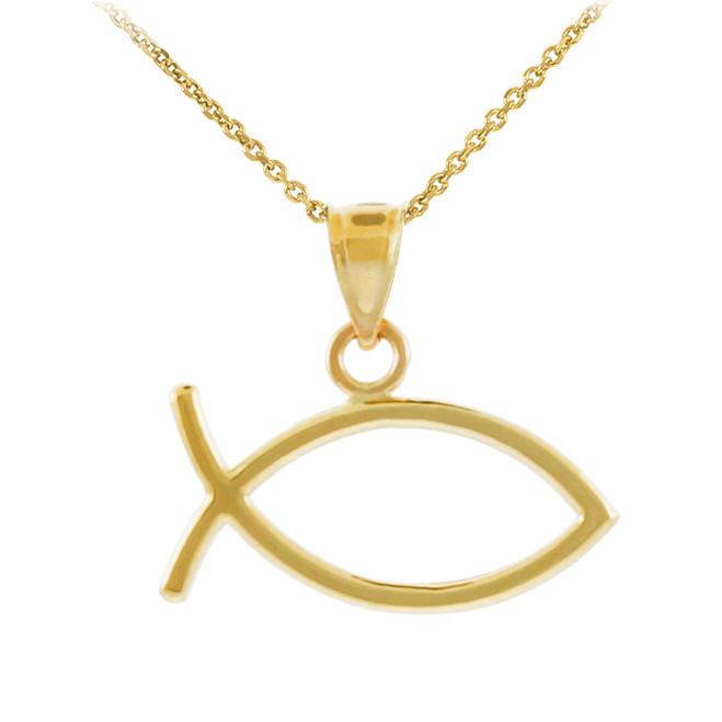 Yellow Gold Ichthus Fish Horizontal Pendant Necklace