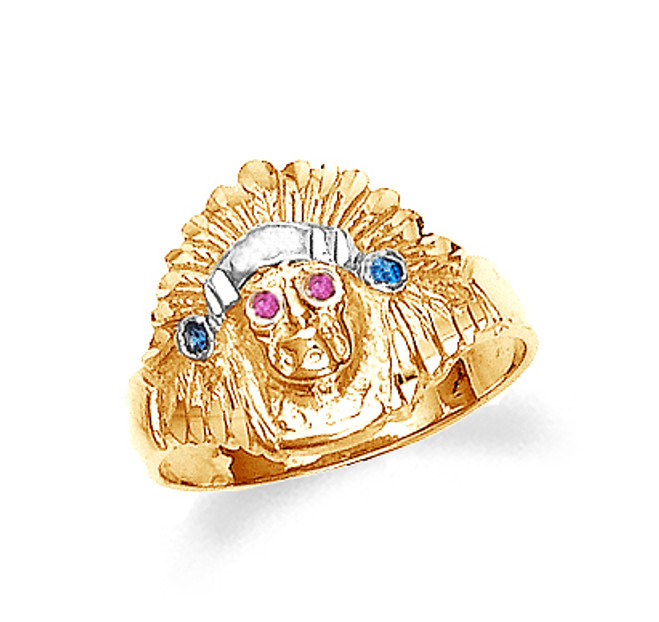 Gold Indian Head Ladies Cubic Zirconia Ring