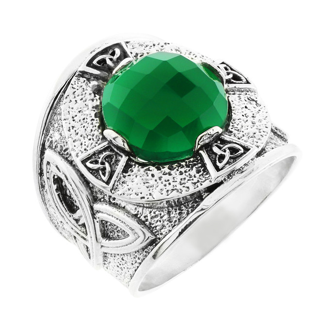 Sterling Silver Celtic Knot Men's Ring with Green Agate