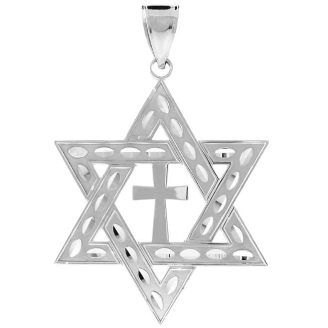 """925 Sterling Silver Jewish Star of David Cross Pendant (L) 2.2"""""""
