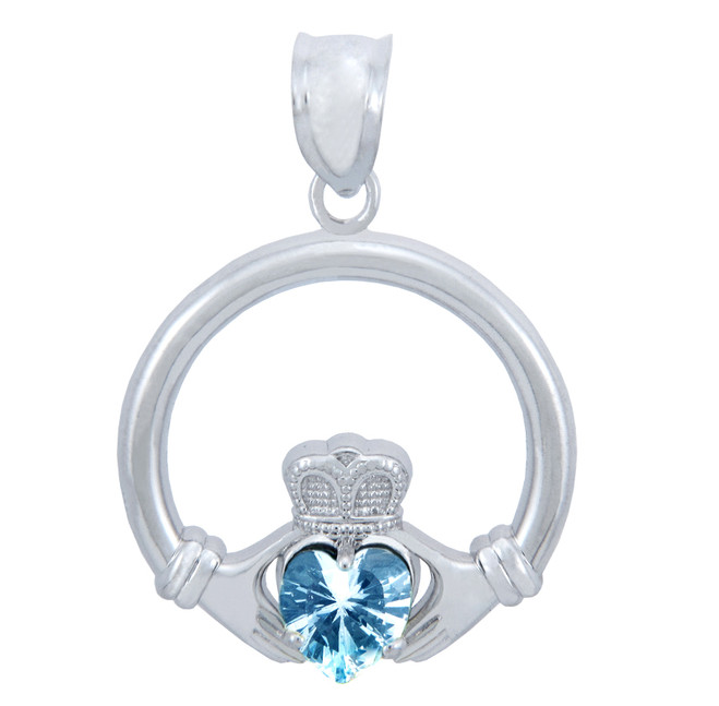 Silver Claddagh Aquamarine CZ Heart Pendant (L)