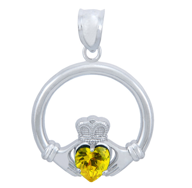 Silver Claddagh Yellow CZ Heart Pendant (L)