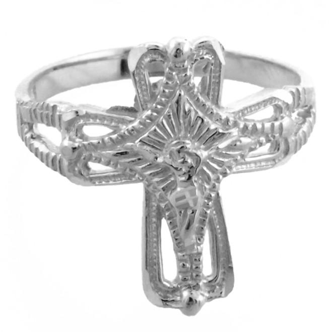 White Gold Crucifix Cross Ring