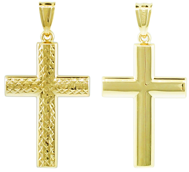 14K Gold Reversible Cross Pendant