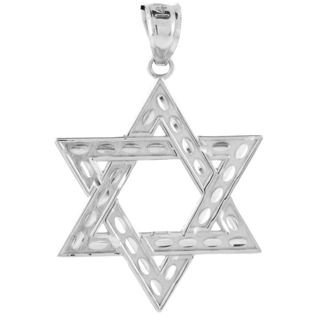 "White Gold Jewish Star of David Reversible Pendant (M) 1.25"""