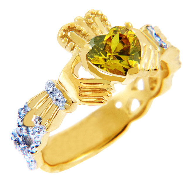 18K Yellow Gold Diamond Claddagh Ring With 0.4 Ct  Citrine