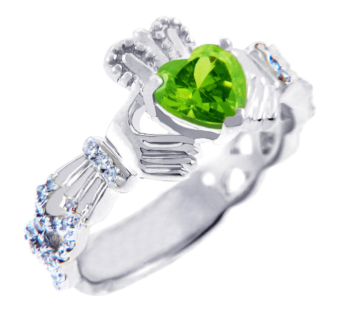 18K White Gold Diamond Claddagh Ring With 0.4 Ct Peridot